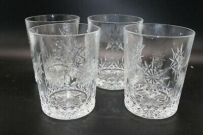 4 Waterford Snowflake  Wishes for Joy & Courage Double Old Fashioned Glasses