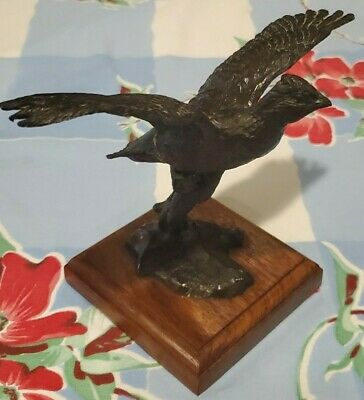 Bronze Bob White Quail Sculpture with Oak Base Signed Justin Young