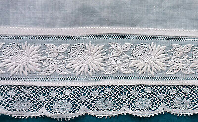 Antique early 20th c child's blouse with 19th c whitework embroidered border