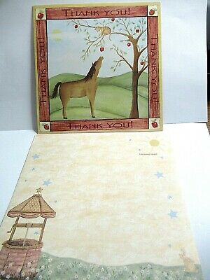 2 THANK YOU  Horse Cat Apple Tree Greeting Cards  Leanin' Tree Valorie Wenk NOS