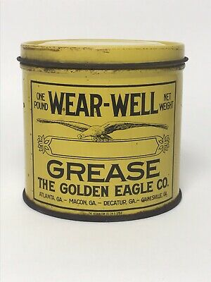Vintage Golden Eagle Wear-well 1 LB Grease Oil Can Gas Advertising Great Graphic