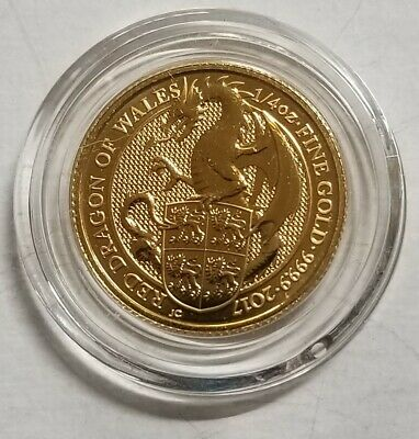 2017 Great Britain Gold Queen's Beasts Red Dragon £25 - 1/4 oz - BU