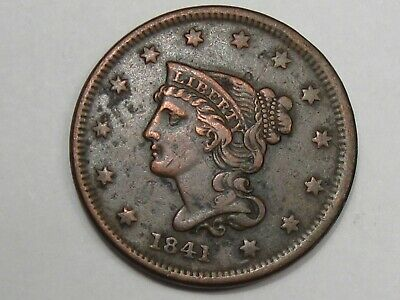 VF 1841 US Braided Hair Large Cent Coin.  #33