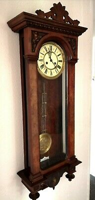 large antique Gustav Becker German black forest carved case Vienna Wall clock