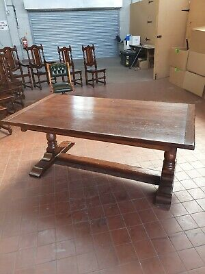 Antique/Reproduction Solid Oak Large Extending Refectory Dinning/Kitchen Table