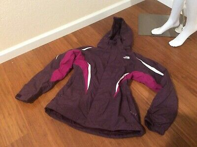Womens THE NORTH FACE Plum/Magenta Zip Up Lined HyVent Rain Shell Jacket Sz L