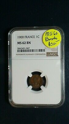 1900 FRANCE One Centime NGC MS62 BN 1C Coin PRICED TO SELL RIGHT NOW!
