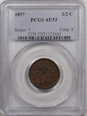 1857 Braided Hair Half Cent - Pcgs Au-53 Premium Quality! Old Holder!