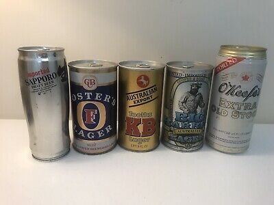 Lot Of 5 Large Import Beer Cans Big Barrel Foster's KB Lagers Sapporo O'Keefe's