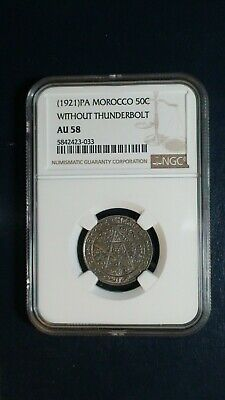 1921 PA MOROCCO 50 CENTIMES NGC AU58 50C Coin PRICED TO SELL RIGHT NOW!