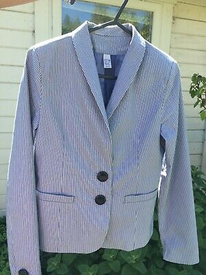 Zara Jacket Girls 13years 14years Blazer Blue And White Stripes