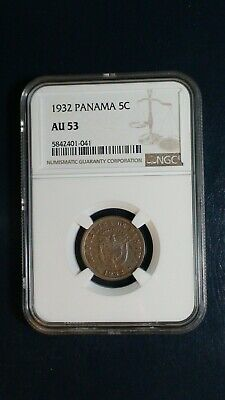 1932 PANAMA FIVE CENTESIMOS NGC AU53 5C Coin PRICED TO SELL RIGHT NOW!