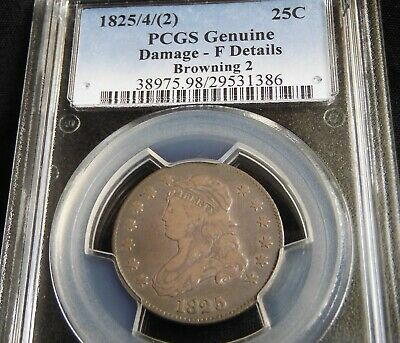 No Reserve Toned 1825 Quarter $ Pcgs Certified F Details Browning 2 1825/4/(2)