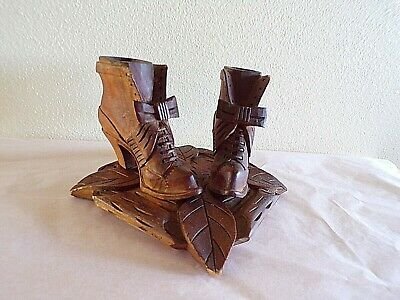 Antique Treen Or Tramp Art Victorian Carved Boots Match Holder?