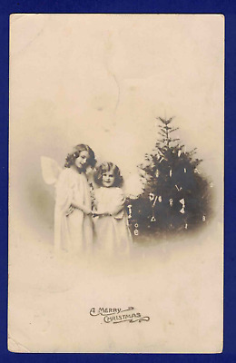 Antique Rppc Christmas Postcard Tree Angels 1911 Made In Germany