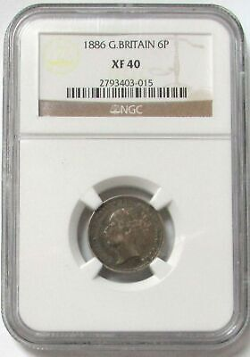 1886 Silver Great Britain 6 Pence Queen Victoria Coinage Ngc Extremely Fine 40