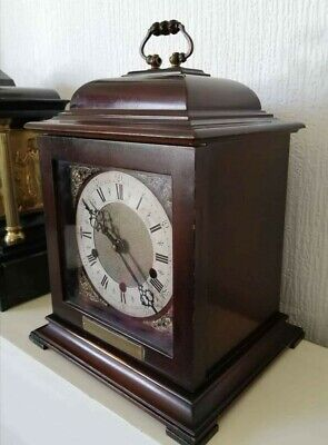 Large vintage Smiths bracket clock running. Westminster chime. Wooden cased.