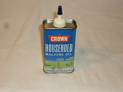 Vintage CROWN 4 Oz Household Oil Can Handy Oiler Tin excellent Graphics