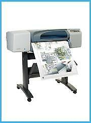 """Hp 500 24"""" Printer Plotter Wideimagesolutions With Supplies + 2 Rolls Of Paper"""