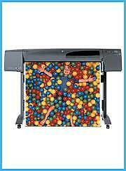 """Hp 800 42"""" Printer Plotter Wideimagesolutions With Supplies + 2 Rolls Of Paper"""