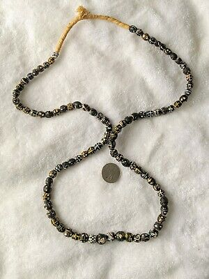 Antique Long Strand Venetian Trade Beads Black & White Skunk African 90+ Beads