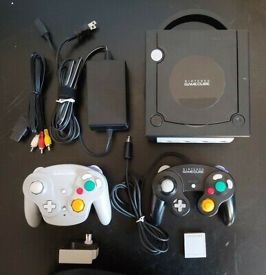 Nintendo Gamecube (DOL-101) - Black, with 2 Controllers, Memory Card and Game
