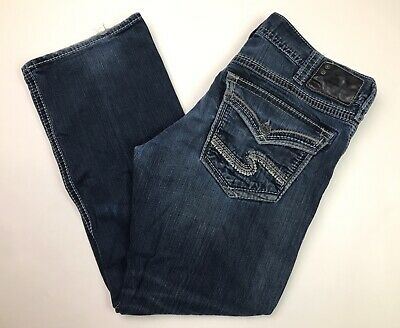 Silver Jeans Co Mens Zac Relaxed Straight Dark Blue Denim Jeans True Fit 35x30