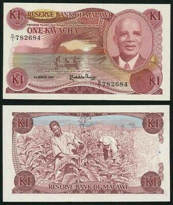 1986 Malawi One Kwacha Banknote Reserve Bank Act 1964 Dr Hastings Banda Pick 19a