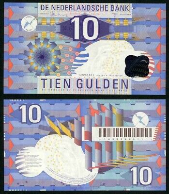 1997 Netherlands 10 Gulden Banknote Colorful Abstract Design Crisp Uncirculated