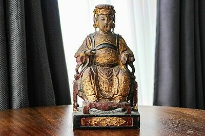 Auspicious Antique Chinese Emperor Wood Carved Polychrome Figure Statue