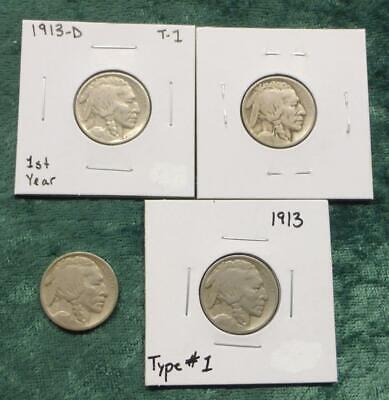 1913 Type 1 PDS Indian Head / Buffalo Nickel Set, 4 Coins Total, P, D & S Coins