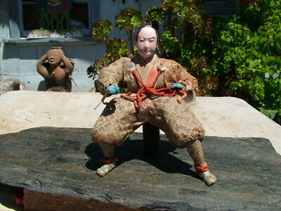 Vintage Japanese Meiji Period Seated Samurai Doll