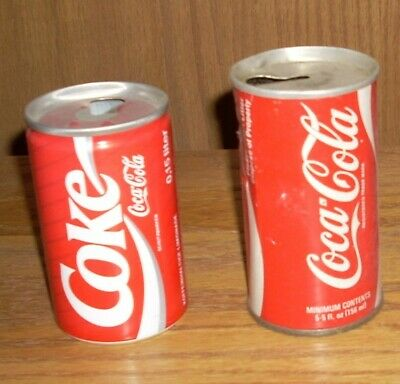 2 of the Worlds Smallest Coca-Cola cans 150ml and 156ml - obsolete - rare - COKE