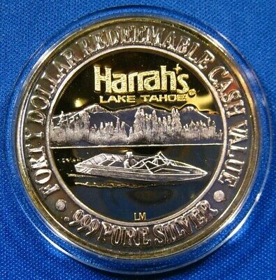 "MINT UNC 1994 Harrah's Casino Lake Tahoe $40 Silver Strike ""Lake Tahoe Boater"""