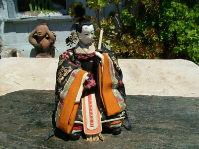 Vintage Japanese Seated Warrior With Sword Hina Doll