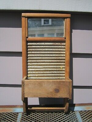 antique Columbus washboard small wood primitive country farmhouse with mirror