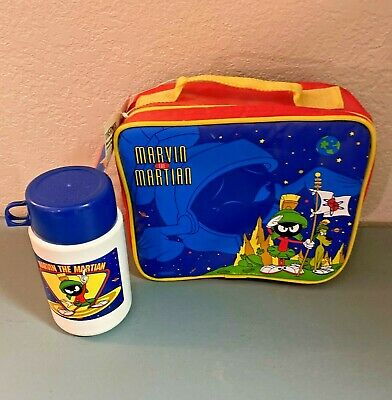 Vintage Looney Tunes Marvin the Martian Lunch Bag-Box & Thermos 1997 WB with Tag