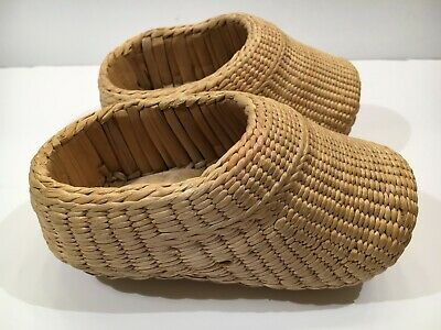 Vintage Small Asian Childs Rice Farmers Shoes Hand Woven Braided Bamboo Wicker