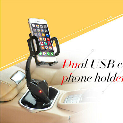 For Cell Phone Dual 2 USB Ports Car Cigarette Lighter Charger Mount Holder