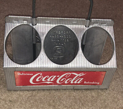 Vintage Aluminum Drink Coca Cola Six Pack Bottle Carrier Enjoy Coke
