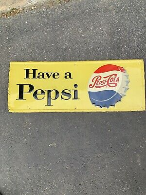 VINTAGE Have A Pepsi Horizontal Metal Sign Older Bottle Cap Symbol 30.25x11.75