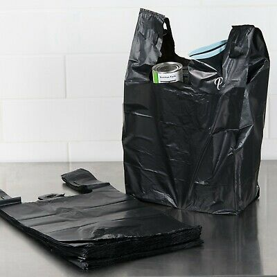 Large 22 x 14 x 7 BLACK T-Shirt Plastic Grocery Store Retail Shopping Bags NEW