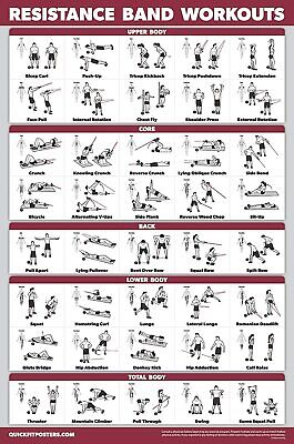 """Resistance Bands Workout Exercise Poster - Tubes Fitness Routine Chart 18"""" x 27"""""""