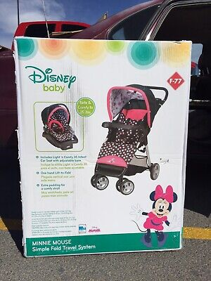 Disney Minnie Mouse Baby Stroller - Simple Fold Travel System, With Car Seat