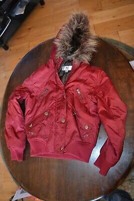 girls NEXT PETITE red CASUAL WINTER PARKA PARKER HOODED COAT JACKET SIZE UK8pock