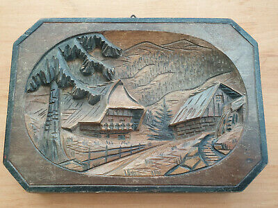 Antique Black Forest wall Plaque with Carved Viliage wood road scene - Free P&P