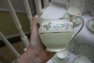 Beautiful  Adderley China Tea Set 21 Pieces Pale Green & Floral c 1950,s 28
