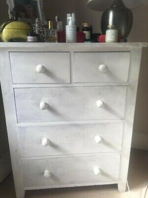 Beautiful White Painted Vintage Wooden Armoire
