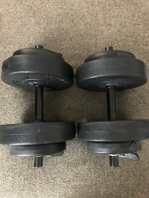 Gold's Gym Vinyl Dumbbell Barbell Adjustable Weights Set - 40lb, 5, 15 & 20 Lbs