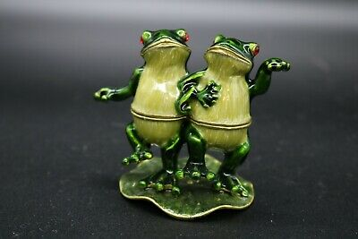 Adorable Couple Dancing Frogs on Lily Pad Jeweled Enamel Trinket Box